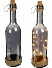 Smoked Glass Bottle and Cork with 10 x Warm White LED Lights Mood Lighting 30cm