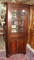 Antique Mahogany Wood 2 Door Tall Narrow Corner Cabinet With Light