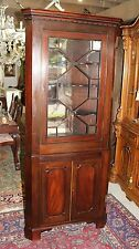Antique Mahogany Wood 2 Door Tall Narrow Corner Accent Cabinet With Light
