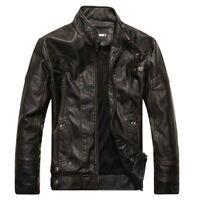 Winter Men Retro Leather Motorcycle Warm Jacket Coat Fur Fleece Overcoat Outwear