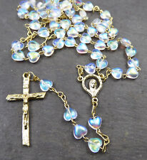 Clear glass rosary beads with iridescent heart shaped beads gold chain