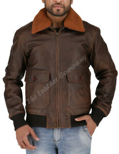 Mens Aviator Navy G-1 Flight Jacket Real Brown Distressed Leather Bomber Jacket