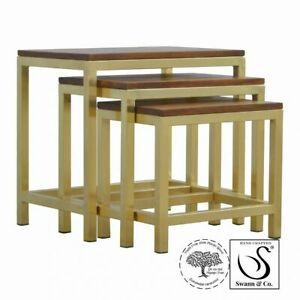 Gold Nest set of 3 Tables with Chunky Wooden top