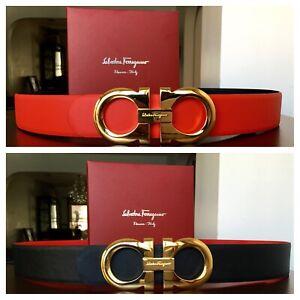 New Authentic Salvatore Ferragamo Belt - 2 in 1 Reversible - XL Buckle