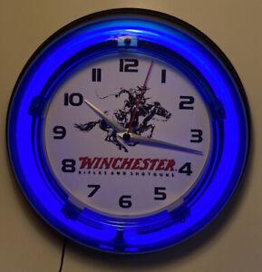 Winchester Firearms logi neon clock