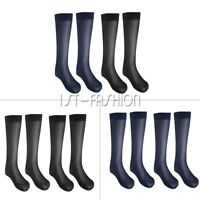 Mena Mesh Thin Formal Dress Socks Over The Calf Strap Silk Business Socks  Black