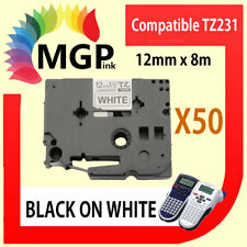 50x Laminated Label Tape for Brother TZ-231 TZe-231 Black on White 12mm x 8m