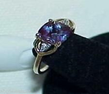 14K 1.00CT Amethyst Cushion Soiltaire Diamond Ring Size 6 Estate Vintage Lovely