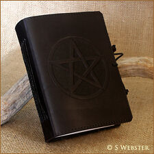 BLACK BOUND LEATHER PENTAGRAM BOOK OF SHADOWS, JOURNAL