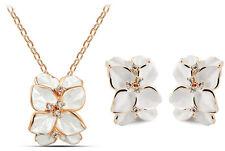 Bridal Weddings White Jewellery Set Flowers  Earrings & Necklace S546