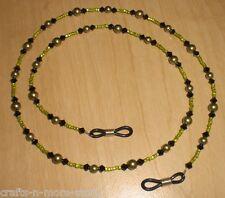 Black & Green Swarovski Crystal & Pearl Eyeglass Chain Holder