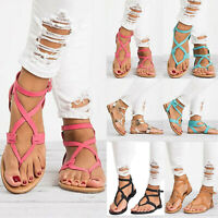 Womens Gladiator Roman Flats Flip Flops Beach Ankle Strap Sandals Open Toe Shoes