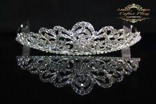 Tiara L Diadem Krone Strass Kristall Brautschmuck Hochzeit Silber elegant NEU