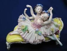 OLDEST VOLKSTEDT DRESDEN GERMAN PORCELAIN IRISH LACE 2 LITTLE GIRL BALLERINAS