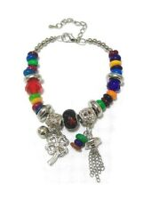 Silver Multi Coloured Bead Four Clover Leaf Charms Chain Bracelet Women Jewelry