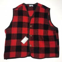 Buffalo Plaid Wool Hunting Vest Mens Size XL