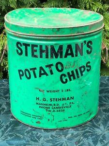 Antique Stehman's Potato Chips Tin 2 LB - Landisville, PA Excellent!