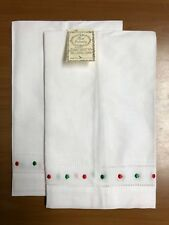 Irish Linen Colored Swiss Dot Guest Towels, Hand Embroidery, (Set of 2):G8648C