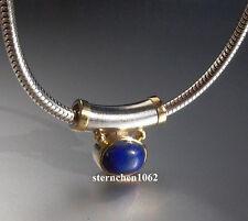 Einzelstück *  Kette mit Lapis Lazuli - Anhänger * 585 Gold *  925 Silber