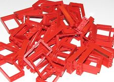 LEGO LOT OF 50 SMALL 1 X 3 X 4 RED WINDOW FRAMES HOUSE CITY PIECES