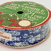 Christmas Ribbon Vintage Carolers Fabric Textured Reversible Satin 21 Ft USA