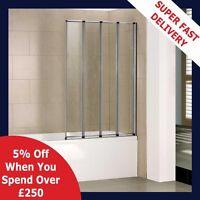 Chrome/White 1000x1400mm Glass 4 Fold Pivot Over Bath Shower Screen Door Panel