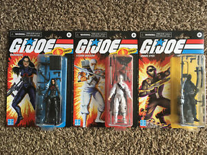 Lot of 3 GI Joe Retro Collection Snake Eyes Storm Shadow Baroness Wave 1 NEW