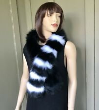 Real Fur Fox Collar Boa Scarf Stole Black White no Mink for Coats S-M-L-Xl-2XL