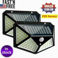 2x 100 LED Solar PIR Motion Sensor Wall Light Outdoor Garden Lamp Waterproof USA