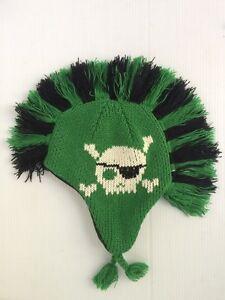 Baby GAP Boys S Pirate Skull Mohawk Sweater Trapper Hat Warm Fleece Black Green