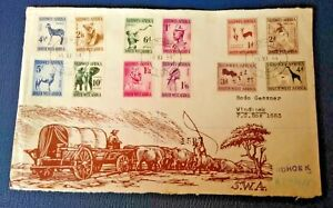 South West Africa 1954 Definitive set on First Day Cover Envelop Front