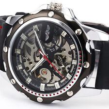 Steampunk Mechanical Automatic Skeleton Men's Silicone Sport Wrist Black Watch
