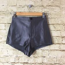 American Apparel High Waisted Disco Short Shorts Metallic Pewter Silver Size S
