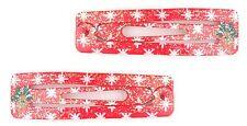 Zest 2 Rectangular Glittery Rudolph Christmas Sleepie Hair Clips Slides Red