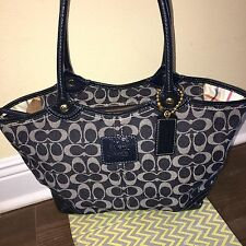 Coach Blue Denim Large Signature Bleeker Tote Satchel Leather Purse Bag 12573