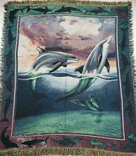 Vintage Hand Knit Dolphin Under Water Animal Pattern Throw Blanket Fringe Tassel