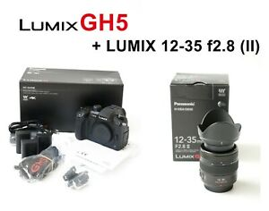 Panasonic GH5 camera body with Lumix Lens 12-35 II lens - shutter count 856
