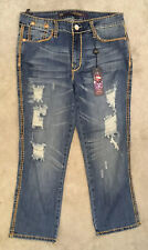 ED HARDY STRESSED JEANS by CHRISTIAN AUDIGIER, 28/27 UNUSED, BAGGED & TAGGED. #3