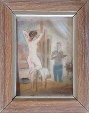Charles ROUSSEL 1882-1961.Le Peintre et son modèle.1937.Crayon+pastel.SBD.32x23.