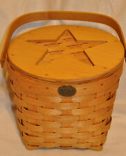 Peterboro Basket Co Picnic Star Woven Wood Storage Basket Usa Round