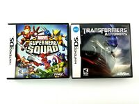 Lot 2 Nintendo DS Marvel Super Hero Squad & Transformers Autobots Complete Works
