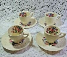 Crown Ducal Gainsborough Embossed Charm China - Set of 4 Demitasse Cups & Saucer