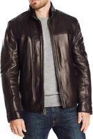 Cole Haan Mens Jacket Night Black Size Medium M Full-Zip Leather $698 179