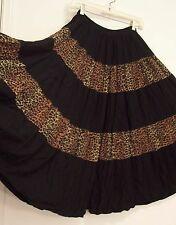 5 Tiered BLACK & LEOPARD print RAYON Peasant WESTERN Broomstick Skirt S M L OS