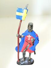Mundiart Hand Painted Spain Miniature Metal Knight Toy Soldier w/Flag