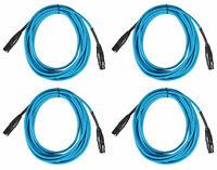 (4) Rockville RCXFM20E-Blue 20 Foot Female to Male XLR Mic Cables 100% Copper
