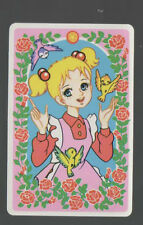 Swap Playing Cards 1 Japanese 1980's Wide Eye Girl With Flowers & Birds A322