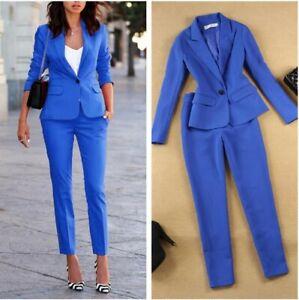 Womens Lapel Slim Fit Blazer Suit Skinny Pants Jacket Trousers OL Style Set 2Pcs