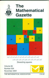 """The Mathematical Gazette"" - Volume 85, Number 504, November 2001,  