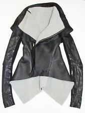RICK OWENS Black Leather w/ Shearling Fur Biker Asymmetric Jacket Coat US10 IT44